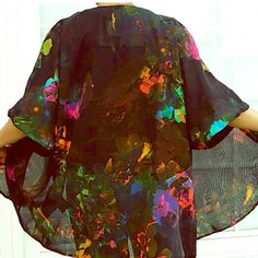 Black and splattered kimono Awesome statement piece! Black sheerish half sleeve kimono with vibrant splatters of color throughout! Like new! H&M Tops