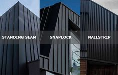 Standing Seam, Snaplock and Nailstrip cladding systems can appear to be quite similar. Roof Cladding, Exterior Wall Cladding, House Cladding, Cladding Systems, Metal Cladding, Exterior Siding, Facade House, House Roof, Cladding Ideas