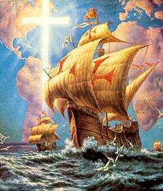 """Heróis do Mar, Nobre Povo..."", Columbus used Portuguese ships, see the Portugues crosses on his Nina, Pinta & Santa Maria ░ La Carabela - Sailing ships used by Spanish and Portuguese explorers in the 1400-1500s."