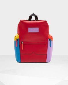 Hunter Colour Block Top Clip Rubberised Leather Backpack