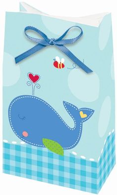 Create smiles on all your baby shower guests when you fill up our Ahoy Baby Boy Favor Bags to present at your event!  Favor bags feature a sweet royal blue whale floating on a bed of gingham check waves with a red heart bursting from her little spout.  A buzzing bee and a royal blue satin ribbon top of this pretty treat bag!  Favor bags measure 1.5 inches deep x 6 inches tall x 3.25 inches wide and come 12 per package.  Blue satin ribbons included for tying bags.