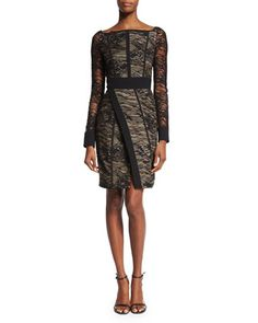 Long-Sleeve+Lace+Wrap-Front+Dress,+Black+by+J.+Mendel+at+Bergdorf+Goodman.