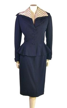 1940 | Navy Blue Peplum Suit with Oversized Cream Collar by Lilli Ann