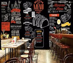 Wall Murals - Wallpaper - U. Delivery Page 11 Mexican Restaurant Design, Small Restaurant Design, Mexican Menu, Fast Food Restaurant, Vintage Restaurant, Pizzeria Design, Coffee Shop Aesthetic, Fast Food Menu, Cake Toppers