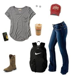 """SO tired"" by kansascountrygirl ❤ liked on Polyvore featuring Hollister Co., Bullet, Justin Boots, NIKE, Unwritten and Miss Selfridge"