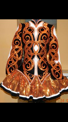 Eye catching Orange Sparkly Irish Dance Solo Dress by Michelle Lewis