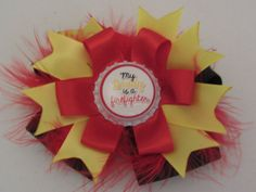 Black yellow and red Firefighter bow/ My Daddy by cutelikeaudrey, $5.00