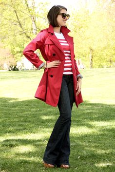 How to wear a red trench coat, cute jeans and tee shirt outfits, ideas for jeans, earnest sewn, urban outfitters striped top, target red trench, jessica quirk, what I Wore, personal style blog, style blog, outfit blog, style blogger, fashion blog on tumblr
