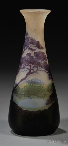 GALLÉ Cameo Glass Vase.   Art glass, France, early 20th century.   Flared rim on cameo decorated body in an etched purple shaded landscape with hints of green and blue, signed in the glass, ht. 7 1/8 in.  (hva)