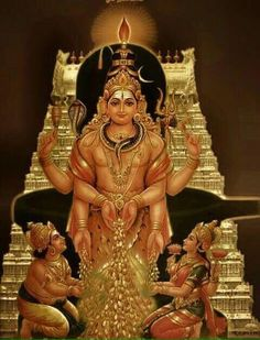 Very rare picture of Lord Shiva giving wealth to KUBHERA AND LAKSHMI DEVI. He is Known by name AISHWARYA ISHWARAN