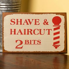 Our grandfathers may remember this pricing. One guy says he remembers… Vintage Tin Signs, Vintage Advertising Signs, Antique Signs, Vintage Tins, Vintage Advertisements, Village Barber, Pole Sign, Shaved Hair Cuts, Sign Image
