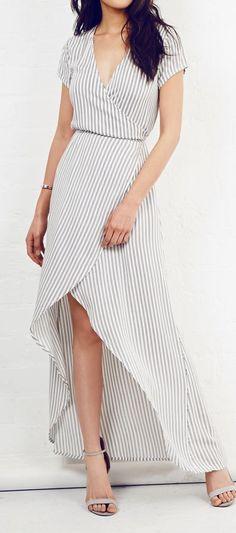 Stripes wrap maxi: dress @roressclothes closet ideas women fashion outfit clothing style