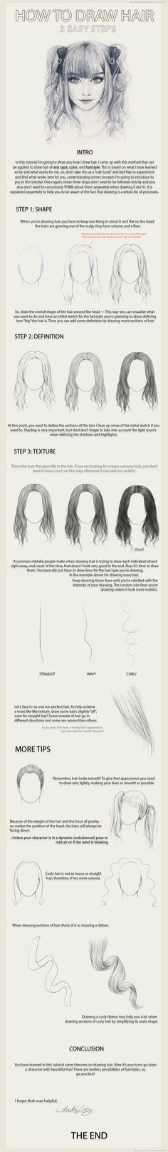 3 Easy Steps to Draw Hair by AndreLuizBarbosa on deviantART @tiinatolonen