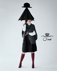Sweet and silly publicity pictures for korean brand O'2nd with hats. Photographer: Tim Walker, model: Audrey Marnay.
