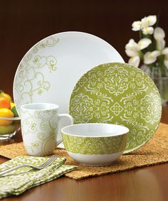 Take a look at this Green Curly-Q Dinnerware 16-Piece Set by Rachael Ray on #zulily today!