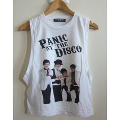 1ee443d89bd59 Panic At The Disco Ladies Drop Down Arm Vest Tank Top Boyfriend T..