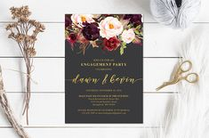 Printable Faux Gold Foil Marsala Watercolor Floral Engagement