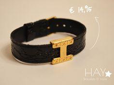 Echt leren armband met de letter H | Zwart