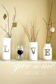 Great idea for how to use some extra vases or jars sitting around the house.