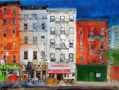 Avenue, Chelsea, New York, Peter Quinn RWS watercolour 2014 Chelsea New York, Urban Sketching, Watercolour Painting, Sketches, Drawings, Paintings, Prints, City Life, Photography