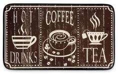 Chef Gear Hot Coffee Faux Leather 18-Inch x 30-Inch Comfort Kitchen Mat in Brown
