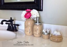 Mason jar bathroom kit. painted mason jars. by Kateslittleshop, $36.00