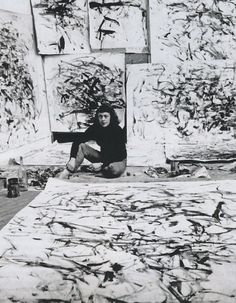 Joan Mitchell in a Paris studio, 1957, Life magazine photo by Loomis Dean