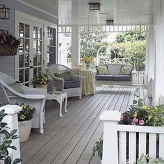 I really like the gray and white theme going on here. This may be perfect for the new covered deck going in.