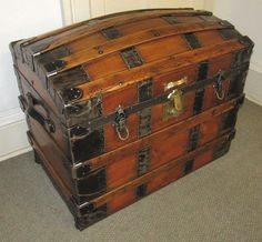 Antique Steamer Trunk Vintage Victorian Dome Top Brides Style Classic Wood Chest | eBay