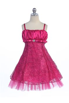 Fuchsia Shiny Embroidered Flower Girl Dress G3129-FU $54.95