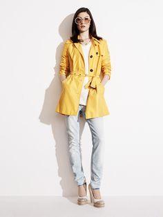 Tommy Hilfiger SS13 Heritage Nylon Trench Coat, Ebony Sweater, Milan Skinny Jeans, Runway Pump