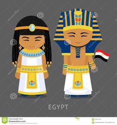 Egyptians In National Dress With A Flag. Stock Vector - Illustration of cartoon, cairo: 122372707