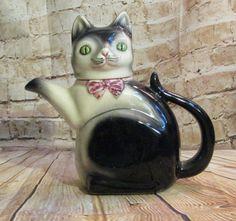 Vintage Pottery Figural Cat Teapot Cortendorf Germany Ebeling & Ruess Erphila #Cortendorf