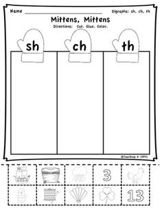 Digraphs Sh, Ch, Th Activity Sort for Kindergarten or 1st Grade https://www.teacherspayteachers.com/Product/Winter-Digraphs-Activities-Bundle-Sh-Th-Ch-Wh-1641463