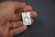 Layering jewelry silver pendant ornate design by PNdesignsStudio