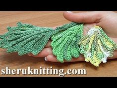 ▶ How To Crochet Two-Side Leaf With Chain Spaces In The Middle Tutorial 1 - YouTube