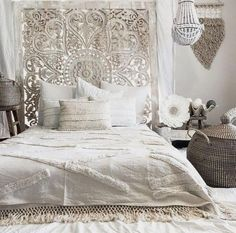 Decorated Heart Shaped Wall Art for a Romantic Bedroom, King Size Bohemian Headboard Made of Teak Wood by Thai Artist. Bohemian Headboard, Bohemian Bedroom Decor, Modern Bedroom Decor, Bedroom Furniture, Bedroom Ideas, Bedroom Designs, Contemporary Bedroom, Bedroom Colors, Scandinavian Bedroom