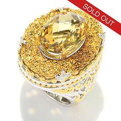 141-387 - Gems en Vogue 5.52ctw Oval Brazilian Canary Citrine & Golden Drusy Ring