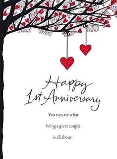 Untitled 1st Marriage Anniversary Wishes, 1st Wedding Anniversary Quotes, Happy First Wedding Anniversary, Anniversary Wishes For Friends, Happy Anniversary Cards, Anniversary Funny, One Month Anniversary Quotes, Happy Aniversary, Anniversary Message