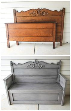 How To Repurpose A Headboard Into A Bench How To Repurpose A Headboard Into A Bench Related posts: 50 headboard bench ideas Pretty Headboard Bench Damaged Vintage Headboard Bench Makeover Classy Black Twin Headboard Bench For The Back Porch Diy Furniture Table, Refurbished Furniture, Repurposed Furniture, Furniture Projects, Furniture Makeover, Antique Furniture, Painted Furniture, Wood Projects, Antique Bench