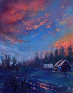"Don Sahli ""Homestead Glow"" 40 x 30 Oil on Board Southwest Art, List Of Artists, Impressionism Art, Fine Art Gallery, Still Life, Glow, Clouds, Sculpture, Contemporary"