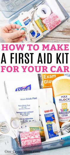 Learn how to make this first aid kit for your car. It is always better to be prepared so make this travel first aid kit today and save time and money. Emergency Binder, Emergency Preparedness Kit, Emergency Supplies, Survival Prepping, Make Your Own First Aid Kit, Diy First Aid Kit, Travel Medicine Kit, First Aid Kit Travel, First Aid Kit Checklist