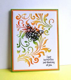 For todays color challenge.  I sponged 5 distress colors to achieve the 3 colors of the challenge.  Die cut the white using Spellbinders/A2 Card Creator, then cut again with TH/Mixed Media 2.  Die cut the black butterfly (Memory Box), Peach and green layers.  Assembled and added 2 pearls.