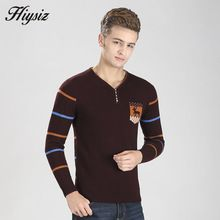 HS Winter Thick Warm Cashmere Sweater Men Brand Clothing Merino Wool Pullover Men Christmas Deer Pattern Button V-Neck Pull 6314(China (Mainland))