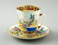 "Lomonosov ""Spring"" Cup & Saucer, hand painted, 22k gilt, designed by A. Vorobyevsky"