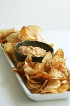 Light as Air Potato Chips with Sweet Smoky Paprika & Cumin Aioli (AKA: Kick-Ass Chips & Dip)
