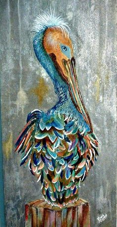 Original painting, Pelican, colorful Pelican, Beach art, Modern, Art DECO, #ArtDeco