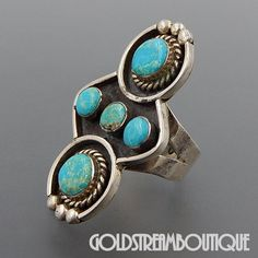 NATIVE AMERICAN VINTAGE NAVAJO SIGNED AQ STERLING SILVER TURQUOISE ELONGATED STATEMENT RING SIZE 9.25