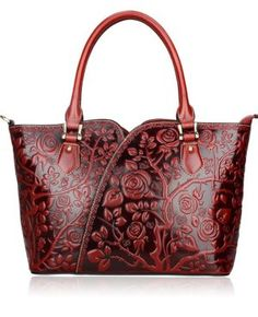 Pijushi Designer Inspired Embossed Rose Ladies Handmade Leather Tote Shoulder Bags Satchel Handbag
