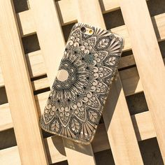 Clear Plastic Case Cover Henna Black Mandala